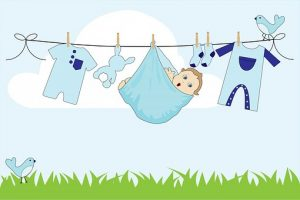 baby on the washing line