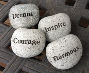 Stones with aspirational words on them