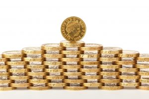 Wall of one pound coins